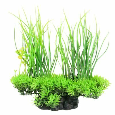 Aquarium Emulational Green Plastic Long Leaf Plant Decor 20cm LW
