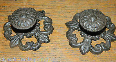 Set/2 Cast Iron French Fleur De Lis Drawer Cabinet Pull Knobs W/Back Plate