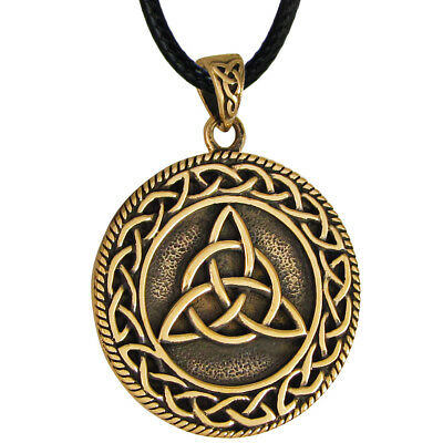 Bronze Triquetra Celtic Knot Pendant Necklace - Wiccan Pagan Knotwork Jewelry