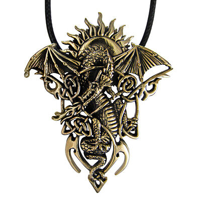 Bronze Tribal Celtic Dragon Pendant with Rising Sun Necklace Gothic Jewelry