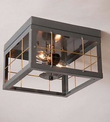 Double Ceiling Country Light With Brass Bars/primitive Colonial Lighting