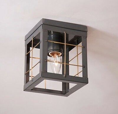 SINGLE CEILING COUNTRY LIGHT WITH With BRASS BARS/PRIMITIVE COLONIAL LIGHTING