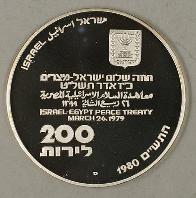 1980 Israel 200 Lirot Silver Proof Independence Day Shalom Commem Coin in Holder