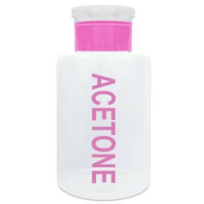 12 Oz. Pink Push Down Acetone-Labeled Dispenser Bottle with Swing Lid