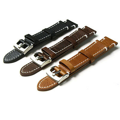 Genuine Leather Vintage Wrist Let Watch Band Strap Black Brown Width 18 20 22mm