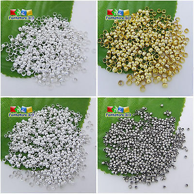 500 pcs Metal Round Rondelle Spacer End Crimp Beads Findings 1.5mm 2mm 2.5mm 3mm