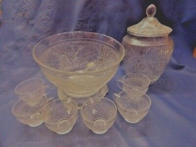 ANCHOR HOCKING SANDWICH Clear GLASS  COOKIES & CRACKERS JAR  W/ 2 GRILL PLATES
