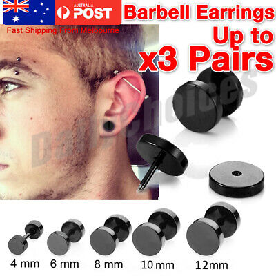 2Pcs Black Men's Round Barbell Punk Stainless Steel Ear Studs Earrings