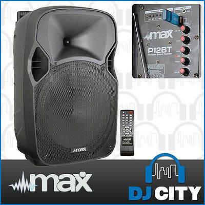MAX P12BT 12 Inch Portable PA Speaker 700 Watt with Wireless Microphone & USB...