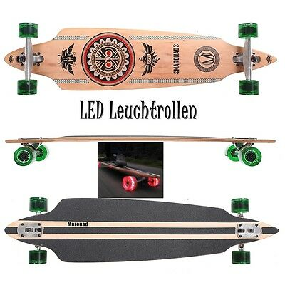 MARONAD ® Longboard Skateboard DROP THROUGH ABEC 11 LED Rollen Leuchtrollen INDI