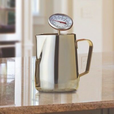 Stainless Steel 350ml Milk Jug & Thermometer Cappuccinos Lattes Hot Chocolate