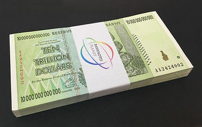 ZIMBABWE 10 Trillion Dollars X 50 PCS AA 2008 P-88 Half Bundle UNC
