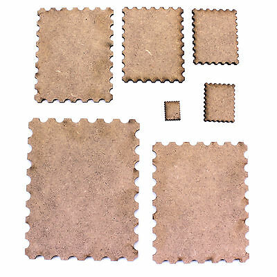 Postage Stamp Craft Shapes, Various Sizes. 2mm MDF Wood. Mixed Media Base Board