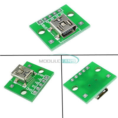 5PCS Mini USB To DIP Adapter Converter For 2.54mm PCB Board DIY Power Supply NEW