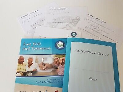 Last Will and Testament DIY Pack Kit-Folder & 2  A3 Forms, 2  A3 Practice Forms