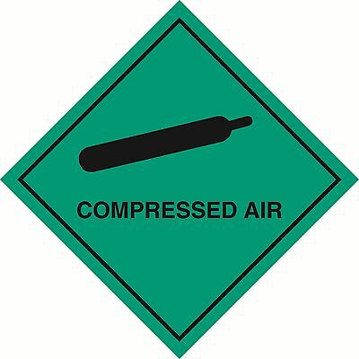 "Health and safety Hazard sticker Compressed Air sticker 5"" green"