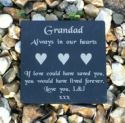 Personalised Engraved Slate Stone Memorial Headstone Plaque Grave Marker
