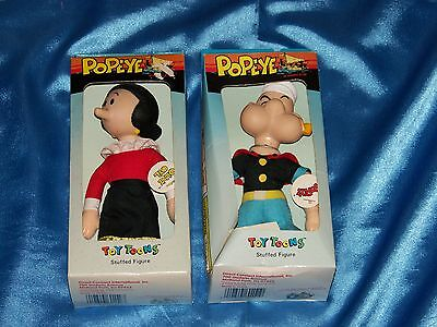"OLIVE OYL & POPEYE the SAILORMAN: 6.5"" Stuffed Figures, Toy Toons, New in Box"