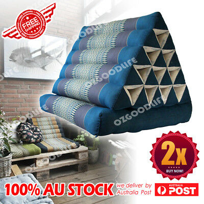Jumbo size Thai Triangle Pillow 1 Fold Out Mattress Cushion Day Bed Blue