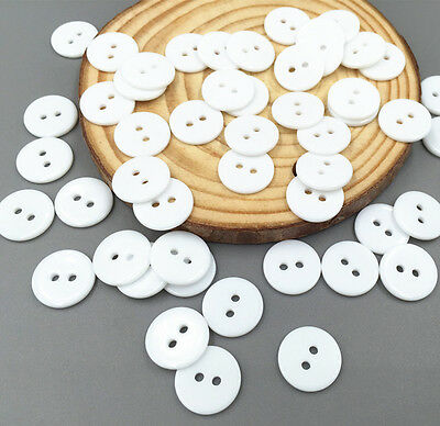 Free Shipping 100pcs 2 Hole White Resin Buttons Fit Sewing Or Scrapbooking 11mm
