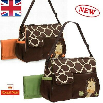 Giraffe Pattern Baby Nappy Changing Bag Set Diaper Bag Mummy Shoulder Messenger