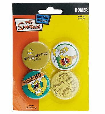 The Simpsons Homer Badge Set New & Official Merch 4 x 38mm Badges BP80148