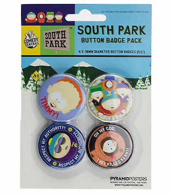 South Park Characters Badge Pack 4 x 38mm Badges New & Official Merchandise