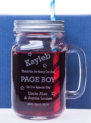 Personalised/Engraved PAGE BOY Mason Drinking Glass Jar Gift For Wedding