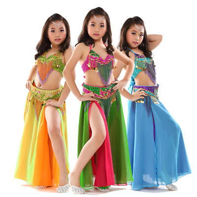 Top, Belt, skirt K877# Kids Girls Belly Dance Costume 8 Colours