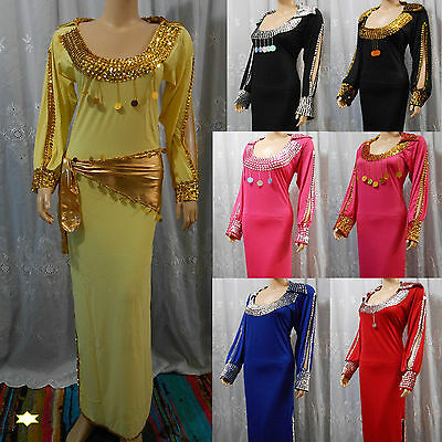 Egyptian Belly Dance Baladi Saidi Galabeya Dancing Dress Costume +SCARF