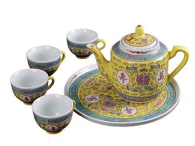 Traditional Chinese Longevity(long life) Designed Tea set, 6 pieces/set