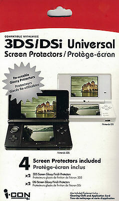 NEW iCON Nintento 3DS & DSi 4-pack Screen Protectors & Cloth FREE SHIPPING