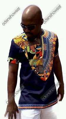 Odeneho Wear Men's Navy Blue Polished Cotton Top/Dashiki&Ankara.African Clothin
