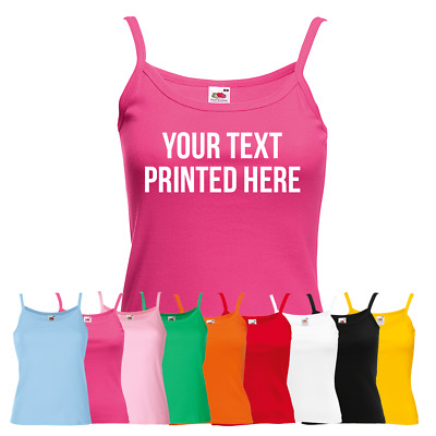 Ladies Personalised Text Vest - Your Custom Text Printed Top Customised Gift