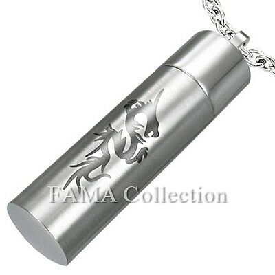 FAMA Stainless Steel Dragon Symbol Secret Cylinder Pendant + Chain Necklace