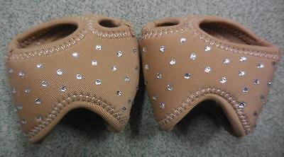 Dance Foot Thongs Foot undies DARK Beige with Diamonte's  for troupe 10 pairs