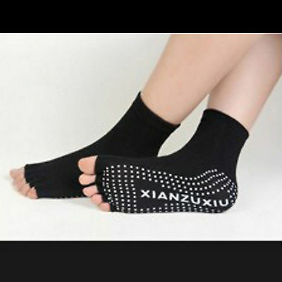 yoga pilates sport exercise five fingers toe non slip socks