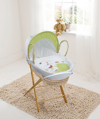 Quiet As A Mouse White Palm Moses  Basket & Folding Stand