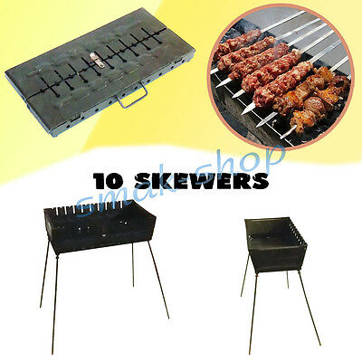 10 Skewer Mangal Schaschlik Grill Brazier Barbecue Char Grill Case Bbq Chargrill