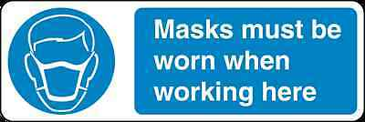 Health and Safety Mandatory Blue Sticker Masks Must Be Worn Sticker