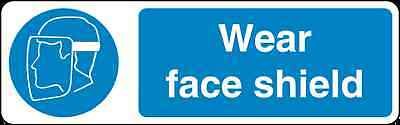 Health and Safety Mandatory Blue Sticker Wear Face Shield Sticker