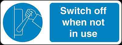 Health and Safety Mandatory Blue Sticker Switch Off When not in use sticker