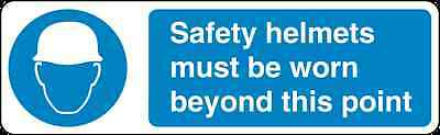 Health and Safety Mandatory Blue Sticker Safety Helmets must be worn sticker