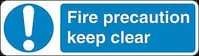 Health and Safety Mandatory Blue Sticker Fire Precaution keep clear sticker
