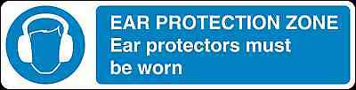 Health and Safety Mandatory Blue Sticker Ear protection Zone sticker