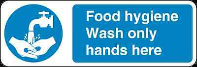 Health and Safety Mandatory Blue Sticker Food Hygiene Wash only hands sticker