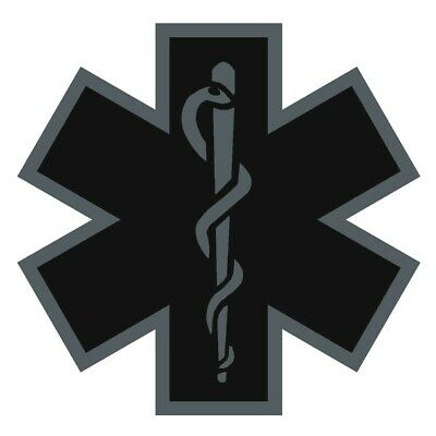 Black Subdued Reflective Star Of Life Fire Helmet Decal EMS EMT 2 inch