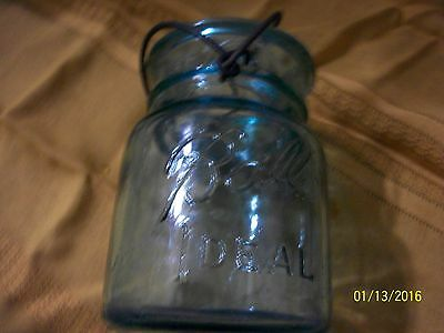 Vintage Blue Ball Ideal Pat'd July 14 1908 Fruit Jar #7