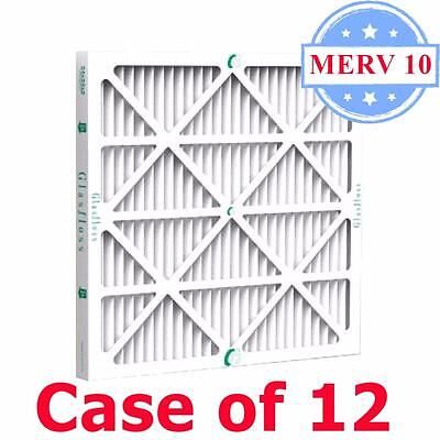 16x20x1 Air Filter MERV 10 Pleated by Glasfloss - Box of 12 - AC/Furnace Filters