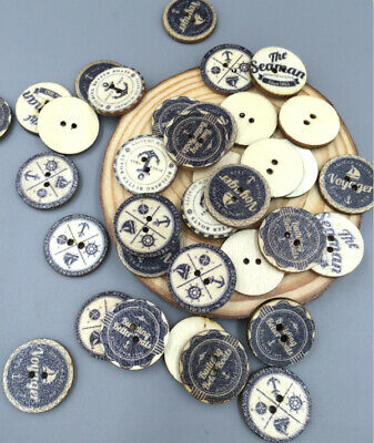 50/100pcs Wooden Buttons Round Ship 2Holes Sewing Scrapbooking Craft DIY 20mm